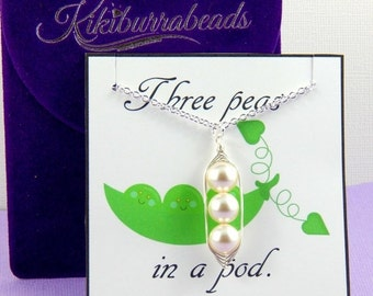 Christmas Sale Peas in a pod, Three Peas In A Pod Necklace, mothers necklace, friendship necklace, sisters necklace, Gift Boxed Necklace