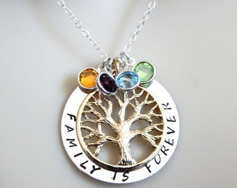Silver Family Tree Necklace, Family Necklace, Grandmother Gift, Birthstone Necklace, Mothers Day Gift
