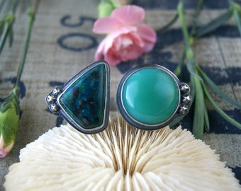 RESERVED - The Pool Above the Earth - Chrysocolla and Chalcedony Sterling Silver Ring