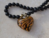 Tiger-Striped Heart Black and Brown Lampwork Heart Pendant