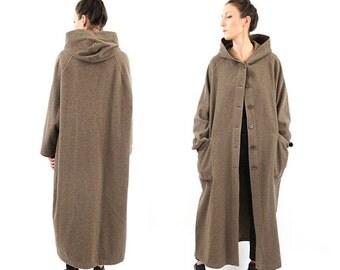 FALL SALE vintage BENETTON wool Minimalist long Hooded coat M-L