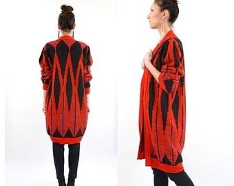 SALE vintage 90s red GEO minimalist DUSTER maxi Cardigan sweater S-M