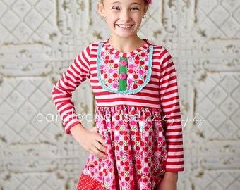Girls Knit Bodice Christmas Dress- Candy Cane Stripe Knit Dress - Winter 2016 Collection by Mellon Monkeys