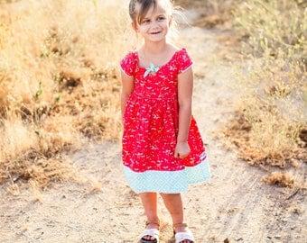 Summer Daisy Days Dress, vintage inspired dress, daisy dress, coral dress, summer dress, sun dress, girls dress, by Melon Monkeys