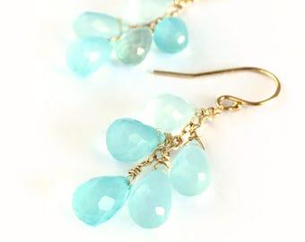 Blue Green Chalcedony Cluster Gemstone Earrings. Ocean Blue Sea Green Chalcedony Gold Earrings