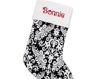 CLEARANCE SALE White and Black Damask Christmas Stocking | Personalized Stocking | White Cuff | CS0027 by Forshee Designs