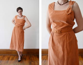 1950s Peach Corduroy Dress - L