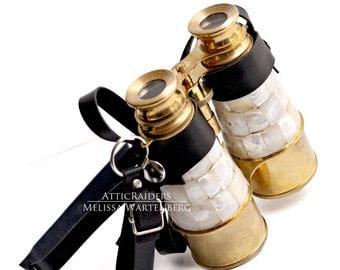 Replica Antique  Binoculars - Pearl and Brass - Steampunk Accessory