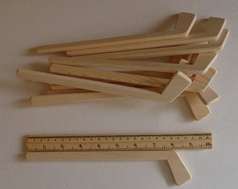 Natural Wood Small Hockey Player Sticks, Set of 12, Tournament Decor, Team Sports Gift, Party Favour, Themed Wedding, Jacobs Wooden Toys