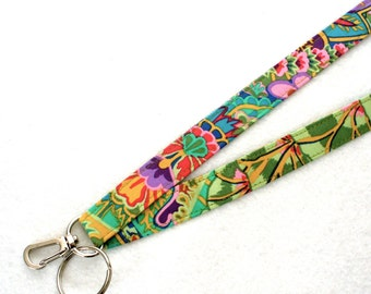 Kaffe Fassett Designer Fabric Lanyard Breakaway Lanyard ID Badge Holder Clip Key Ring Fob Jungle Paisley Emerald Green Purple Orange