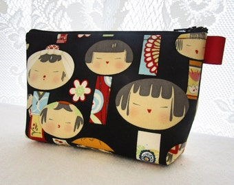 Yui Kokeshi Fabric Large Cosmetic Bag Zipper Pouch Padded Makeup Bag Zip Pouch Alexander Henry Cute Japanese Wooden Dolls Black Red Blue MTO