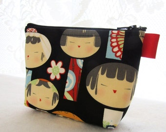 Yui Kokeshi Cosmetic Bag Fabric Zipper Pouch Makeup Bag Alexander Henry Fabric Gadget Pouch Japanese Wooden Dolls Black Red Blue