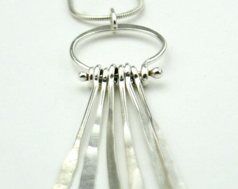 Sterling necklace with hammered tassel bars