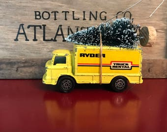 Vintage Ryder Truck Carrying Christmas Tree Ornament