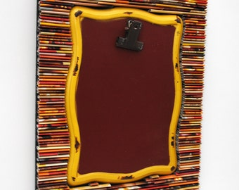 Rustic red & yellow clip board/photo frame - made from recycled magazines, neutral, organization, message board, unique, gift idea, shabby