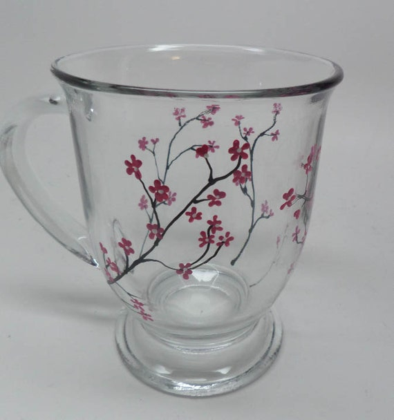 Hand Painted Coffee Mug painted with pink and white spring flowers.