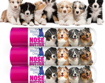 Australian Shepherd ORIGINAL NOSE BUTTER® Handcrafted Balm for Dry Dog Noses Choice: .15 oz Tube or 3-Pack .15 oz Tubes Aussie Labels