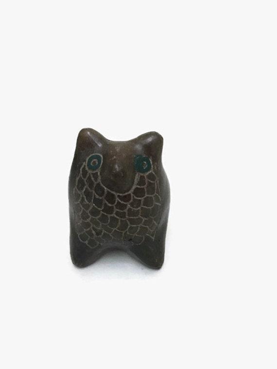 Primitive Owl Figurine - Miniature Ceramic Animal - Folk Art
