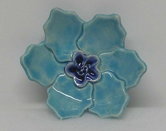 Small Light Aqua Blue Porcelain Handbuilt Flower