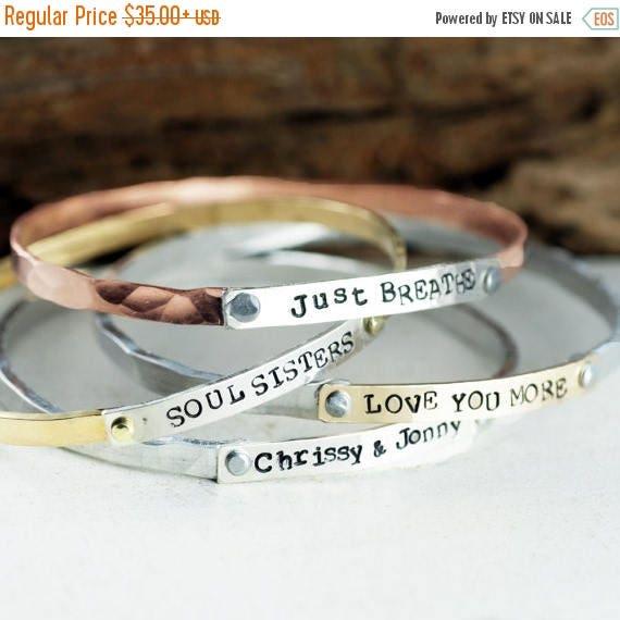 15% OFF SALE Custom Bangle Bracelet, Mothers Bracelet, Mantra Bracelets, Stackable Cuff Bracelets, Personalized Bangle Bracelet, Gift for Mo