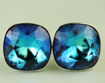 Bermuda Blue Crystal Stud Earrings, Swarovski 10mm Cushion cut square sterling silver post earings, gift for her under 25 dollars, art4ear