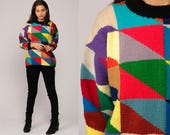 Color Block Sweater 80s Slouchy retro GEOMETRIC Op Art Print Knit Pullover Grunge 1980s Vintage Retro Blue Yellow Purple Small Medium