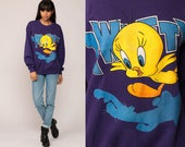 Tweety Bird Sweatshirt Looney Tunes Shirt 90s Cartoon Animal Top Graphic Retro 1994 Vintage Purple Slouchy Medium