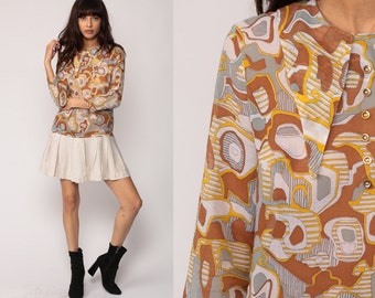 60s Mod Dress Mini SCOOTER 1960s Drop Waist Pleated Psychedelic Print Vintage Long Sleeve 70s Twiggy Brown Beige Gogo Collar Medium