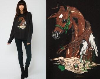 HORSE Sweatshirt 80s SAHARA DESERT Shirt Animal Shirt Camel Bird Jumper Graphic Raglan Sleeve Pullover 1980s Hipster Vintage Black Large