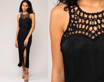 Long Black Dress Sheer CUTWORK Midi Cutout Party Boho Hippie 90s High Side Slit Cut Out Sleeveless Column Sheath Bohemian Medium Large