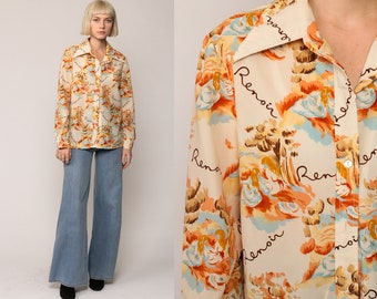 70s Shirt RENOIR Artt Print Blouse Disco Top Artist Boho Shirt 1970s Hippie Novelty Vintage Button Up Long Sleeve Large