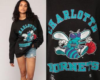 Charlotte Hornets Shirt 90s NBA Sweatshirt Graphic Basketball Retro Sports Baggy Pullover Jumper 1990s Black Vintage Extra Large xl