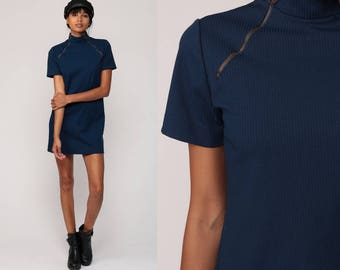 Mod Mini Dress 60s Shift Funnel Neck Space Age Navy Blue ZIP NECK 1960s Plain Polyester Twiggy Vintage Short Sleeve Extra Small xs