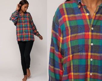 Plaid FLANNEL Shirt Button Up 90s Grunge Green Flannel Blue Red Checkered Long Sleeve Lumberjack Vintage retro Button Down Medium