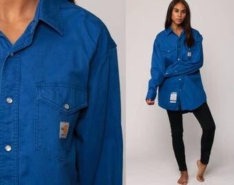 CARHARTT Shirt Pearl Snap Shirt Western Shirt Long Sleeve Vintage Cotton Bright Blue Button Up Flame Resistant Retro medium