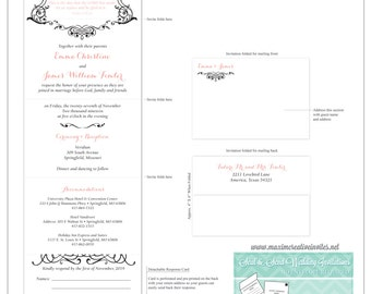 Romantic Grace Seal and Send Invitation - All In One Invitation - Perforated RSVP Card - Folding Wedding Invitation - Self Mailer Style