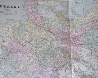 1891 Map- Germany - Atlas Page 14.5 x 22 in Great for Framing