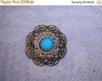SALE- Fabulous Gold Filigreed Brooch with Turquoise and Tiny Pearls Antique