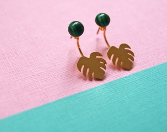 MONSTERA Malachite and Leaf Swing Studs in Gold or Silver Plated