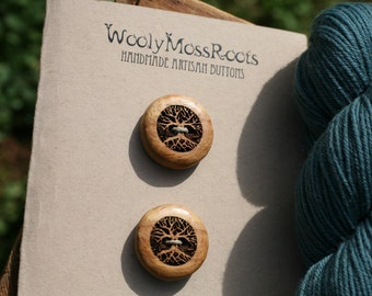2 Wood Tree Buttons- Apple Wood- Wooden Buttons- Eco Craft Supplies, Eco Knitting Supplies, Eco Sewing Supplies- DIY Knitting Supplies
