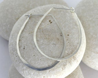 Silver teardrop hoops - hammered teardrop earrings available in 14K white gold or sterling silver