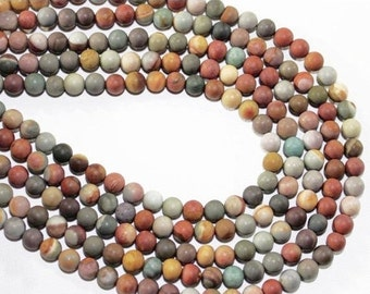 """HOLIDAY SALE 7"""" Gemstone STRAND - Agate Beads - 6mm Smooth Satin Rounds - Brown, Orange, Yellow, Olive, Gray (7"""" strand ~30 beads) - str121"""