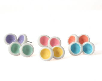 Round Earrings - White Earrings - Stud Earring Set - Colorful Earrings - Modern Earrings -  Silver Studs - Earrings for Women, Gifts for Her