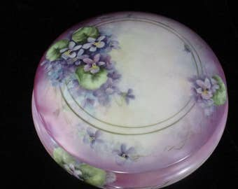 Display Bowl with Lid LARGE Round Purple Violets Flowers - Hand Painted  Inside an Out Even the  Bottom China  Bowl & Lid