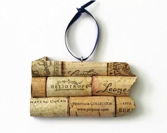 state ornament - Pennsylvania ornament - wine gifts - window ornament - cork ornament - state art - wine cork ornament - christmas ornament