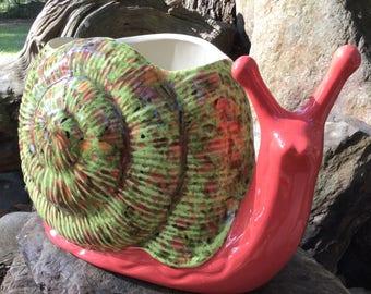 Snail, planter, flower pot, coral, melon, chocolate, green, large, house plant, garden decor, patio decor