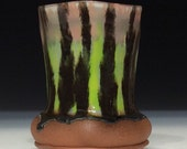Pink and bright green with black stripes tall tumbler