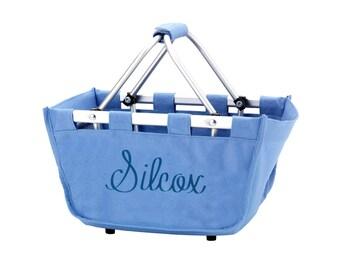 Blue Personalized Mini Market Tote,  Basket, Grocery Tote, Small Basket, Tote Basket with Name, Personalized Basket, Blue Tote