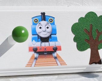 "34"" with 6 Pegs . Thomas the Train . Kids Coat Rack"