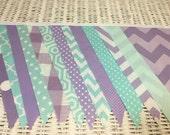 Free USA Shipping/Aqua and Lavender Fabric Banner/Aqua Fabric Banner/Lavender Fabric Banner/Party Banner/Fabric Banner/Party Decor/Banner